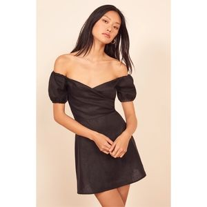 Reformation Bowie Off Shoulder A-Line Mini Dress